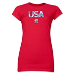 USA FIFA Women's World Cup Canada 2015(TM) Junior Women's T-Shirt (Red)