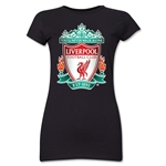 Liverpool Crest Junior Women's T-Shirt (Black)