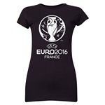 Euro 2016 Core Emblem Junior Women's T-Shirt (Black)