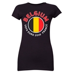 Belgium Euro 2016 Core Emblem Junior Women's T-Shirt (Black)