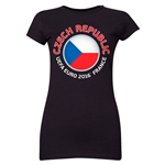Czech Republic Euro 2016 Core Emblem Junior Women's T-Shirt (Black)