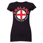 England Euro 2016 Core Emblem Junior Women's T-Shirt (Black)