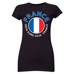 France Euro 2016 Core Emblem Junior Women's T-Shirt (Black)