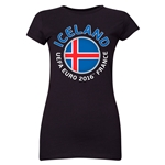 Iceland Euro 2016 Core Emblem Junior Women's T-Shirt (Black)