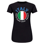 Italy Euro 2016 Core Emblem Junior Women's T-Shirt (Black)