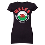 Wales Euro 2016 Core Emblem Junior Women's T-Shirt (Black)