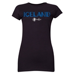 Iceland Euro 2016 Core Junior Women's T-Shirt (Black)