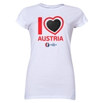Austria Euro 2016 Heart Junior Women's T-Shirt (White)