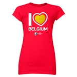 Belgium Euro 2016 Heart Junior Women's T-Shirt (Red)
