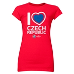 Czech Republic Euro 2016 Heart Junior Women's T-Shirt (Red)