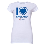 England Euro 2016 Heart Junior Women's T-Shirt (White)