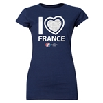 France Euro 2016 Heart Junior Women's T-Shirt (Navy)