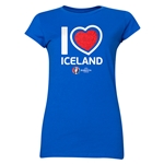 Iceland Euro 2016 Heart Junior Women's T-Shirt (Royal)