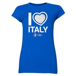 Italy Euro 2016 Heart Junior Women's T-Shirt (Royal)