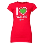 Wales Euro 2016 Heart Junior Women's T-Shirt (Red)