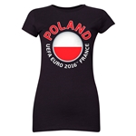 Poland Euro 2016 Flag Junior Women's T-Shirt (Black)