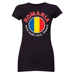 Romania Euro 2016 Flag Junior Women's T-Shirt (Black)