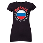Russia Euro 2016 Flag Junior Women's T-Shirt (Black)