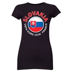 Slovakia Euro 2016 Flag Junior Women's T-Shirt (Black)