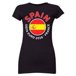 Spain Euro 2016 Flag Junior Women's T-Shirt (Black)