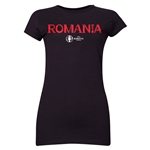 Romania Euro 2016 Core Junior Women's T-Shirt (Black)