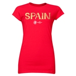 Spain Euro 2016 Core Junior Women's T-Shirt (Red)