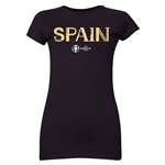 Spain Euro 2016 Core Junior Women's T-Shirt (Black)