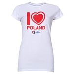Poland Euro 2016 Heart Junior Women's T-Shirt (White)