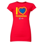 Romania Euro 2016 Heart Junior Women's T-Shirt (Red)