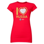 Russia Euro 2016 Heart Junior Women's T-Shirt (Red)
