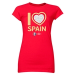 Spain Euro 2016 Heart Junior Women's T-Shirt (Red)