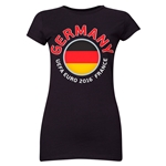 Germany Euro 2016 Flag Junior Women's T-Shirt (Black)