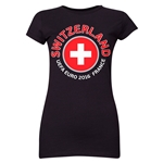 Switzerland Euro 2016 Flag Junior Women's T-Shirt (Black)