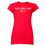 Switzerland Euro 2016 Core Junior Women's T-Shirt (Red)