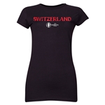 Switzerland Euro 2016 Core Junior Women's T-Shirt (Black)