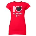 Albania Euro 2016 Heart Junior Women's T-Shirt (Red)
