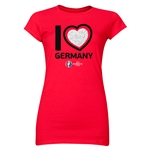 Germany Euro 2016 Heart Junior Women's T-Shirt (Red)