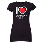 Germany Euro 2016 Heart Junior Women's T-Shirt (Black)