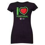 Portugal Euro 2016 Heart Junior Women's T-Shirt (Black)