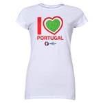 Portugal Euro 2016 Heart Junior Women's T-Shirt (White)