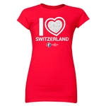 Switzerland Euro 2016 Heart Junior Women's T-Shirt (Red)