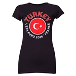 Turkey Euro 2016 Flag Junior Women's T-Shirt (Black)