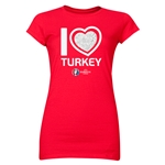 Turkey Euro 2016 Heart Junior Women's T-Shirt (White)