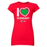 Hungary Euro 2016 Heart Junior Women's T-Shirt (Red)