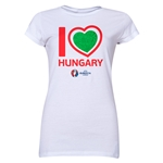 Hungary Euro 2016 Heart Junior Women's T-Shirt (White)