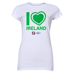 Ireland Euro 2016 Heart Junior Women's T-Shirt (White)