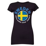 Sweden Euro 2016 Core Junior Women's T-Shirt (Black)