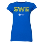 Sweden Euro 2016 Elements Junior Women's T-Shirt (Royal)