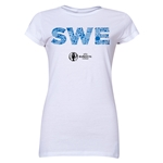 Sweden Euro 2016 Elements Junior Women's T-Shirt (White)
