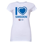 Sweden Euro 2016 Heart Junior Women's T-Shirt (White)